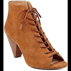Vince Camuto Elisha peep toe lace up booties
